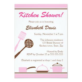 Chá de panela marrom cor-de-rosa retro da cozinha convite 12.7 x 17.78cm
