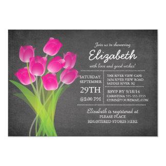 Chá de panela moderno da tulipa do rosa do quadro convite 12.7 x 17.78cm