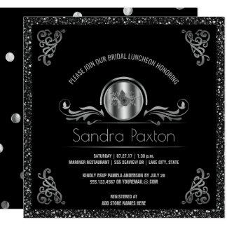 Chá de panela nupcial do casamento de prata do convite quadrado 13.35 x 13.35cm