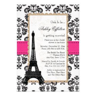 Chá de panela parisiense da torre Eiffel do rosa q Convite