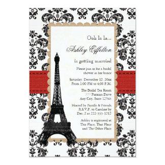 Chá de panela parisiense da torre Eiffel vermelha Convite 12.7 X 17.78cm