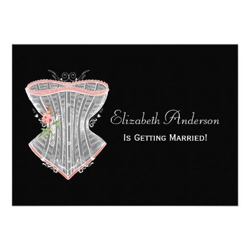 Chá de panela pessoal da lingerie do espartilho do convite