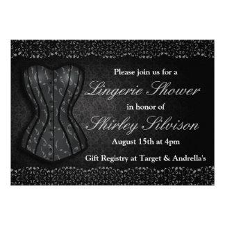 Chá de panela preto da lingerie do espartilho convite personalizados