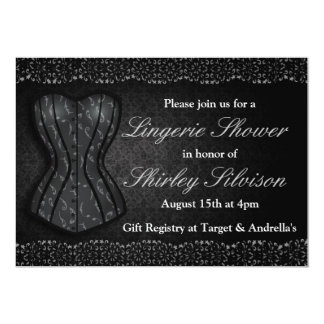 Chá de panela preto da lingerie do espartilho convite 12.7 x 17.78cm