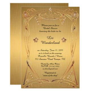 Chá de panela que honra, grande Gatsby, OURO Convite 12.7 X 17.78cm