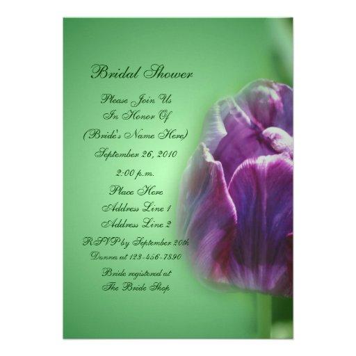 Chá de panela roxo da flor da tulipa convite personalizado