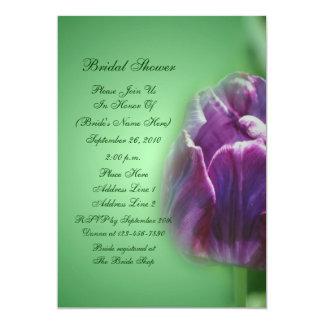 Chá de panela roxo da flor da tulipa convite 12.7 x 17.78cm