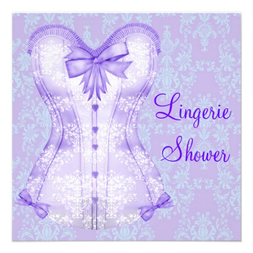 Chá de panela roxo da lingerie do espartilho do da convite personalizados