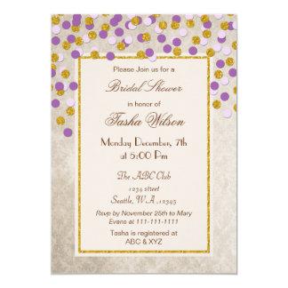 Chá de panela roxo dos confetes do ouro do brilho convite 12.7 x 17.78cm