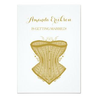 Chá de panela simples da lingerie do espartilho do convite 12.7 x 17.78cm