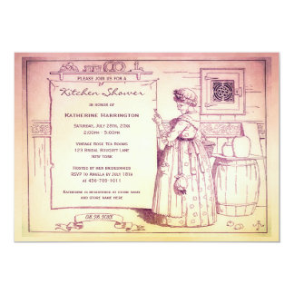 Chá de panela velho da cozinha de Hubbard da mãe Convite 12.7 X 17.78cm