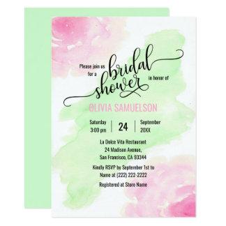 Chá de panela verde do rosa & da hortelã de rosas convite 11.30 x 15.87cm