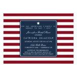 Chá de panela vermelho das listras brancas & azuis convite personalizados