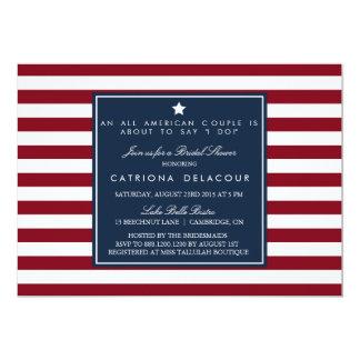 Chá de panela vermelho das listras brancas & azuis convite 12.7 x 17.78cm