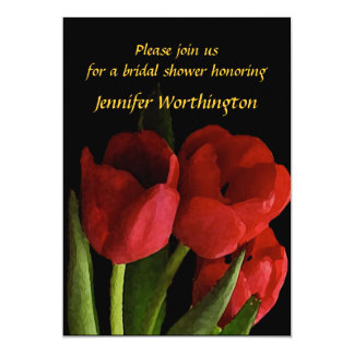 Chá de panela vermelho das tulipas convite 12.7 x 17.78cm