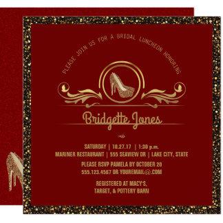 Chá de panela vermelho nupcial do brilho do ouro convite quadrado 13.35 x 13.35cm