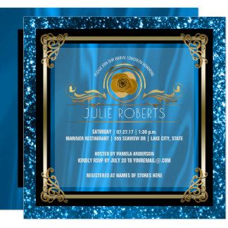 Chá de panela Wedding azul do ouro   do almoço Convite Quadrado 13.35 X 13.35cm