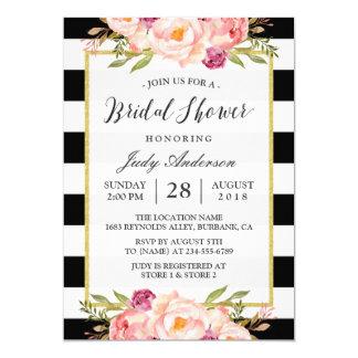 Chá de panela Wedding da decoração floral moderna Convite 12.7 X 17.78cm