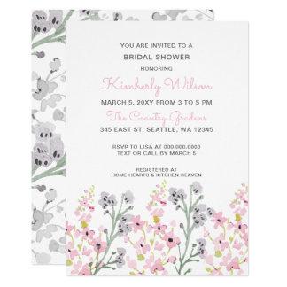 chá de panela Wedding floral do jardim inglês Convite 12.7 X 17.78cm