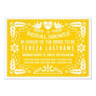 Chá de panela wedding moderno do amarelo do picado convite 12.7 x 17.78cm