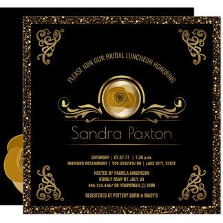 Chá de panela Wedding nupcial do ouro   do preto Convite Quadrado 13.35 X 13.35cm
