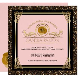 Chá de panela Wedding nupcial do ouro   do rosa do Convite Quadrado 13.35 X 13.35cm