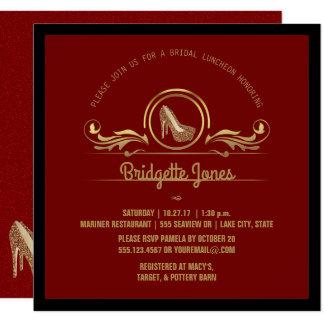 Chá de panela Wedding nupcial do vermelho | do Convite Quadrado 13.35 X 13.35cm