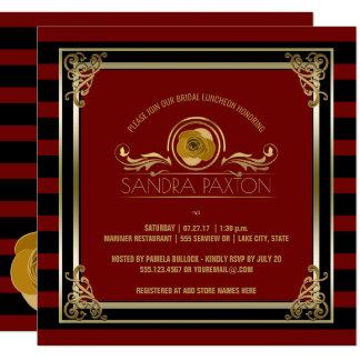 Chá de panela Wedding vermelho do ouro   do almoço Convite Quadrado 13.35 X 13.35cm
