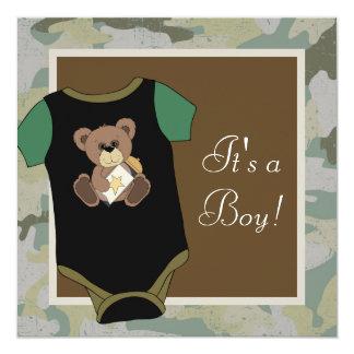 Chá do bebé da camuflagem do verde do exército convite quadrado 13.35 x 13.35cm