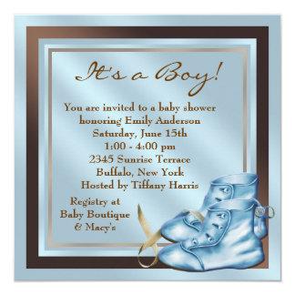 Chá do bebé de Brown azul de calçados de bebê de Convite Quadrado 13.35 X 13.35cm