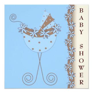 Chá do bebé de Brown azul do carrinho de criança Convite Quadrado 13.35 X 13.35cm