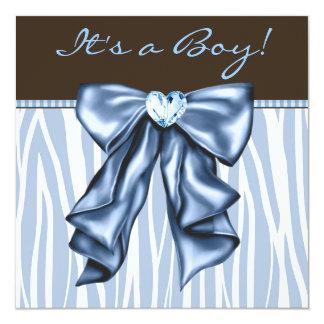 Chá do bebé de Brown da zebra dos azuis bebés Convite Quadrado 13.35 X 13.35cm