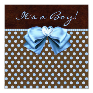 Chá do bebé de Brown de azuis bebés Convite Quadrado 13.35 X 13.35cm