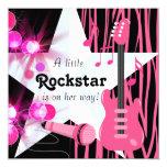 Chá do bebé de Rockstar da zebra do rosa quente Convite Quadrado 13.35 X 13.35cm