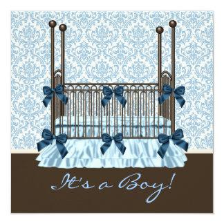 Chá do bebé do damasco de Brown azul da ucha do Convite Quadrado 13.35 X 13.35cm