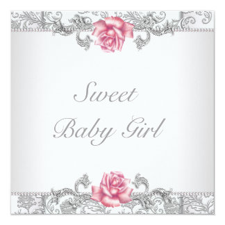 Chá do bebé do damasco do rosa do rosa convite quadrado 13.35 x 13.35cm