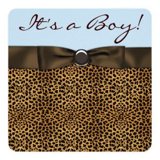 Chá do bebé do leopardo convite quadrado 13.35 x 13.35cm