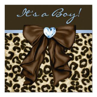 Chá do bebé do leopardo de Brown de azuis bebés Convite Quadrado 13.35 X 13.35cm