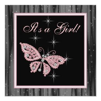 Chá do bebé do preto do rosa da borboleta da jóia convite quadrado 13.35 x 13.35cm