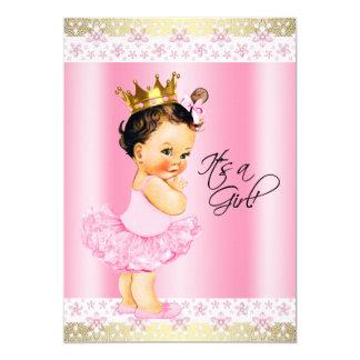 Chá do bebé do tutu do rosa e da bailarina do ouro convite 12.7 x 17.78cm