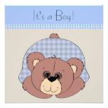 Chá do bebé do urso de ursinho de Brown azul Convites Personalizado