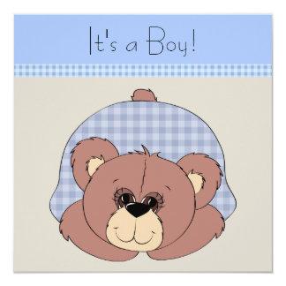 Chá do bebé do urso de ursinho de Brown azul Convite Quadrado 13.35 X 13.35cm