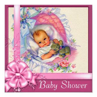 Chá do bebé dos rosas do rosa do berço do vintage convite quadrado 13.35 x 13.35cm