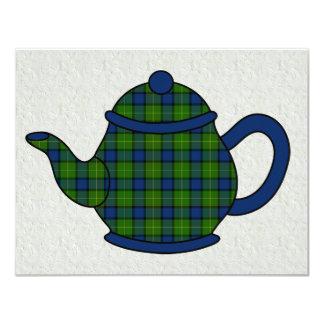 Chá do bule da xadrez de Tartan Convite Personalizados