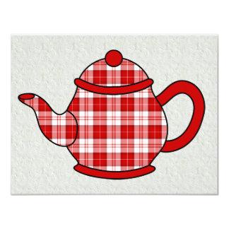 Chá do bule V2 da xadrez de Tartan Convites Personalizados