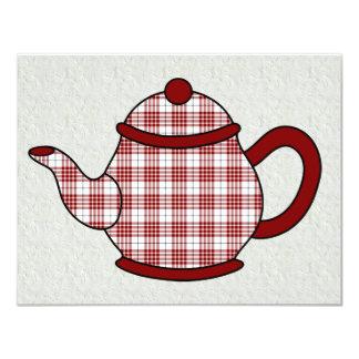 Chá do bule V4 da xadrez de Tartan Convites Personalizado