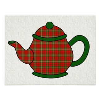 Chá do bule V5 da xadrez de Tartan Convites Personalizado