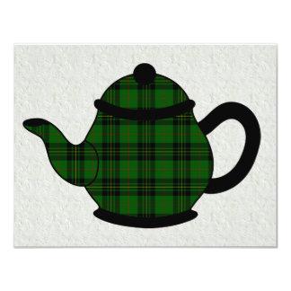 Chá do bule V6 da xadrez de Tartan Convite Personalizado