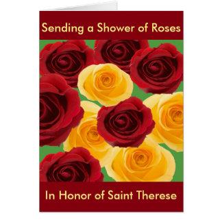 Chá do cartão dos rosas projetado perto: Mary Ann