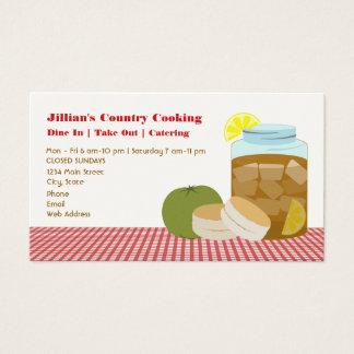 Chá doce, tomate verde, restaurante dos biscoitos cartão de visitas